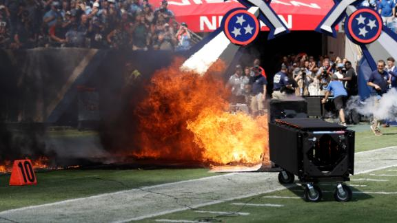Speaker catches fire before Titans-Colts game
