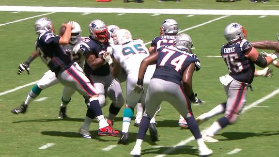 Brady sacked after own lineman is pushed into him