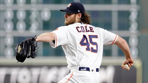 Cole eclipses 300-strikeout mark in strong outing vs. Rangers