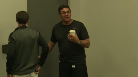 Rivera walks out of press conference when asked about Cam