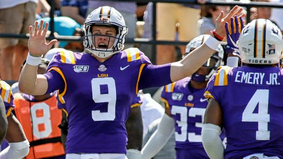 Burrow has record day in LSU's win