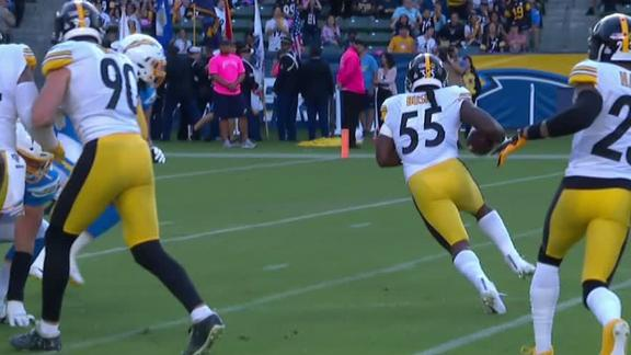 Rivers' backward pass to Gordon recovered by Steelers for TD