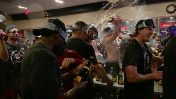 Nats celebrate in locker room after winning NLCS