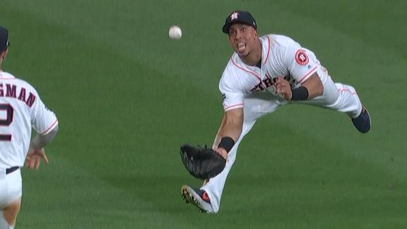 Brantley ignites Astros' crowd with diving double play