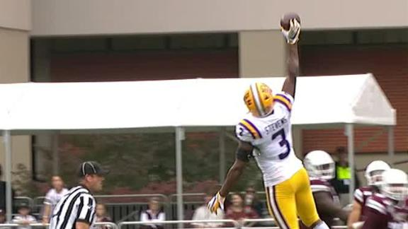 LSU's Stevens makes one-handed INT