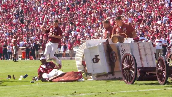 Oklahoma's Sooner Schooner topples over during celebration