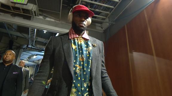 King James arrives for opening night