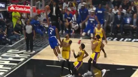 Kawhi flushes dunk with left hand