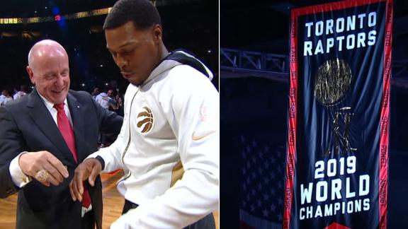 Raptors receive championship rings, unveil banner