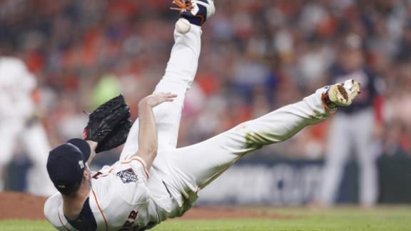 Verlander throws ball into his own leg