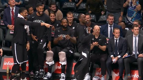 Nets bench mob celebrates on Kyrie's no-looker to Harris