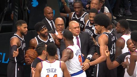 Knicks, Nets get chippy as Prince comes to Kyrie's defense