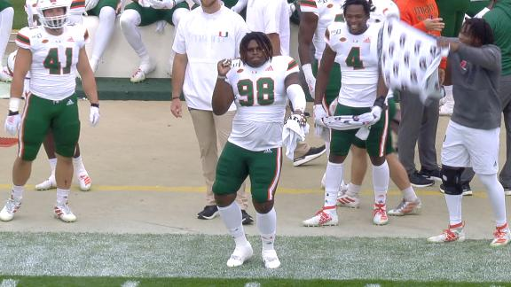 Miami DL shows off his moves after Hurricanes score