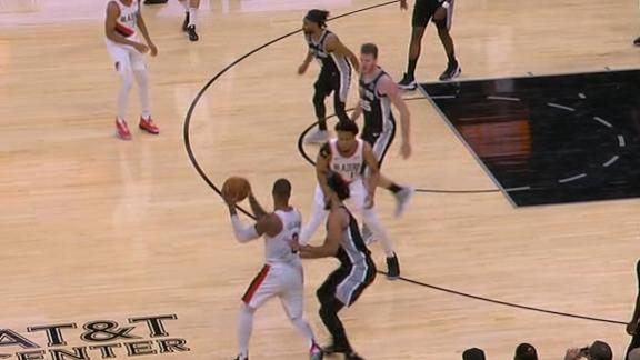 Dame blows by defender to throw down one-handed dunk