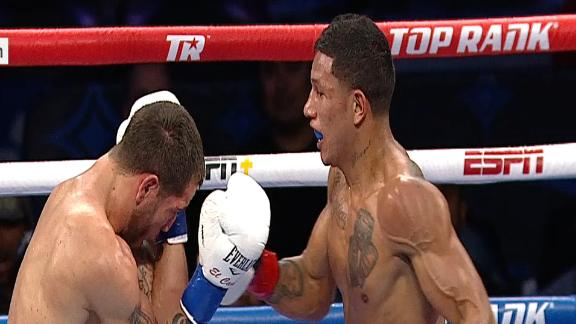 Berchelt's vicious body shot forces Sosa to a knee