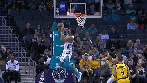 Monk lobs it up to Bridges for the acrobatic alley