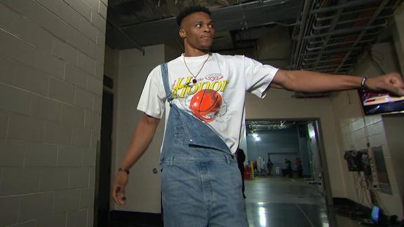 Westbrook dons overalls ahead of game vs. Warriors