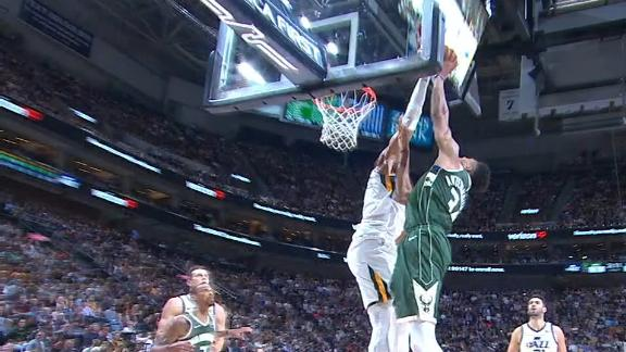 Gobert denies Giannis at the rim