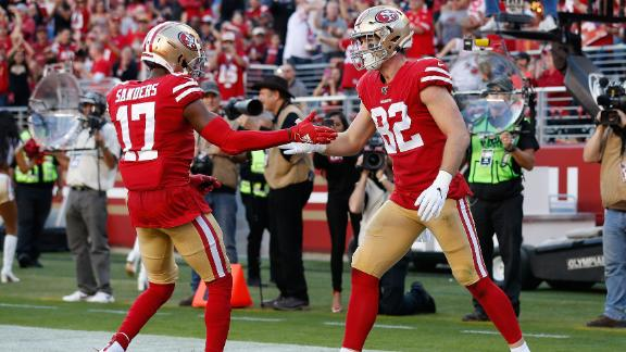 Dwelley catches 2 TDs in Kittle's absence