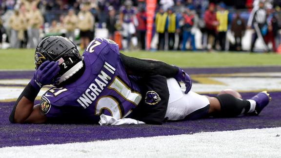 Ingram chills in the end zone after scoring TD