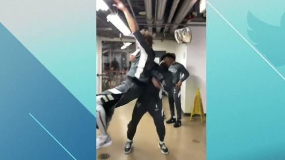 Bucks go full WWE backstage before game