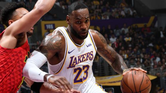 LeBron puts up double-double with Kobe in the house