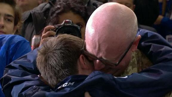 Father and son reunited at Rangers game