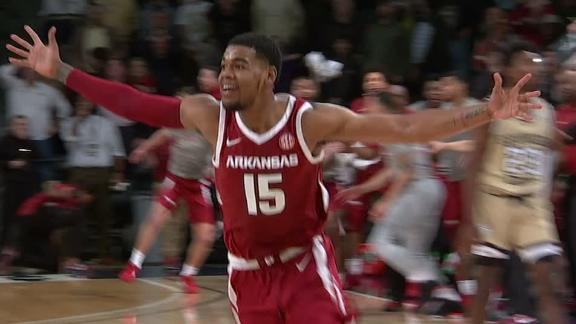 Arkansas banks in a game-winning 3 with 0.1 left in OT