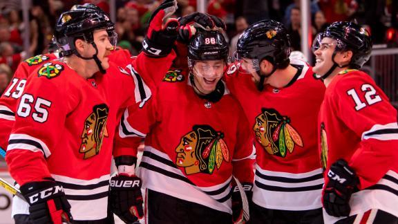 Saad, Kane score in Blackhawks' shutout win
