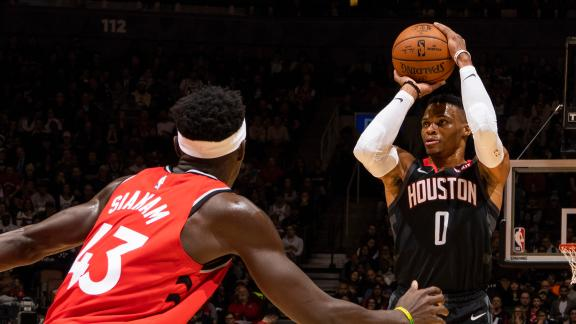 Westbrook's triple-double, Rockets' 22 treys fuel win
