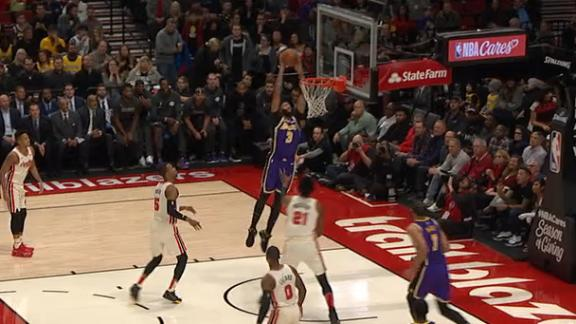 LeBron finds AD for the two-handed jam