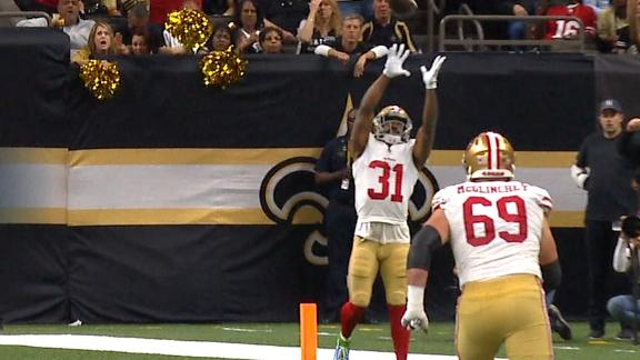 Sanders, Mostertlink up on crafty TD pass for 49ers