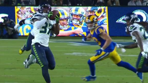 Diggs returns Goff's pass for pick-6