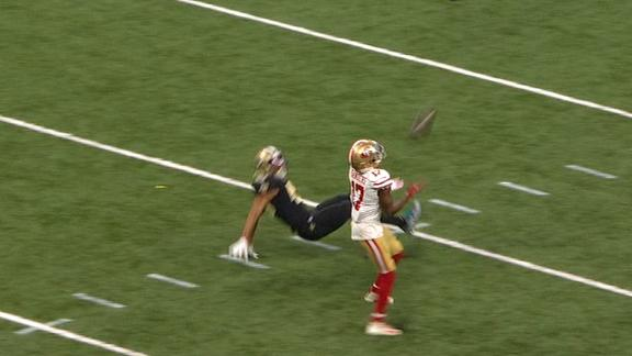 Sanders falls down while making catch, recovers for 75-yard TD