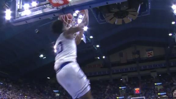 Agbaji throws down sweet reverse alley-oop