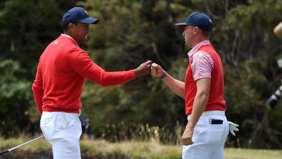 Tiger, Thomas win first match for Team USA