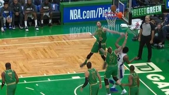 Hayward gets help-side block on Embiid
