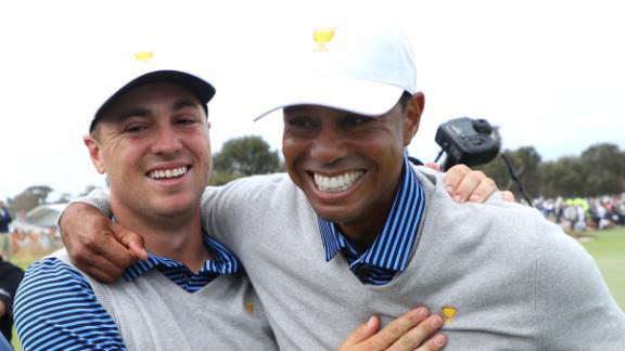 Tiger, Thomas win but USA still trails Internationals