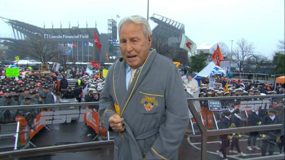Corso dons Army robe on set
