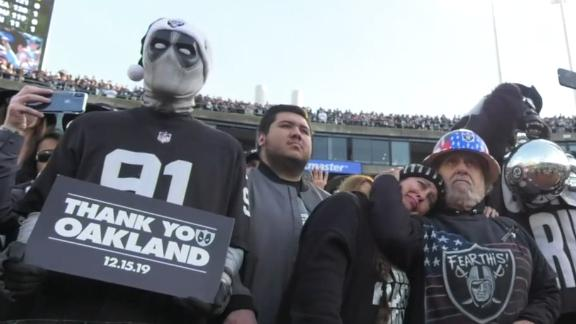 Raiders fans react emotionally to final game in Oakland