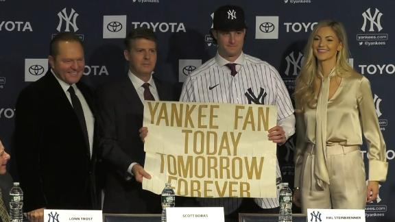 Cole brings childhood sign to signing day with the Yankees