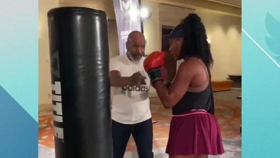 Tyson gives Serena boxing lessons