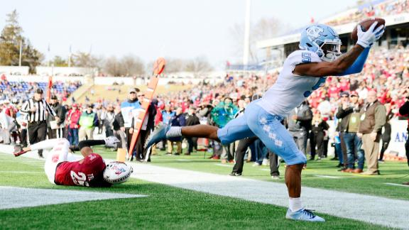 Newsome makes 2 spectacular TD grabs in UNC's Military Bowl win