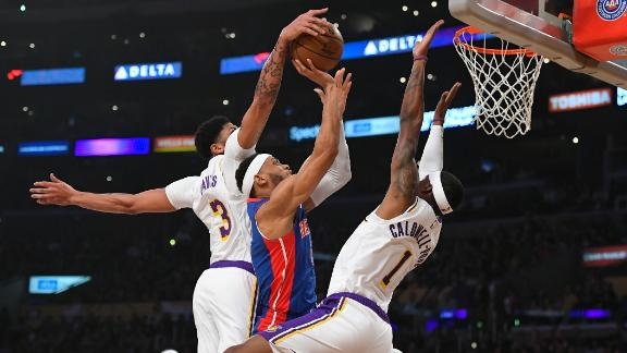 Lakers put on a block party with 20 in win vs. Pistons