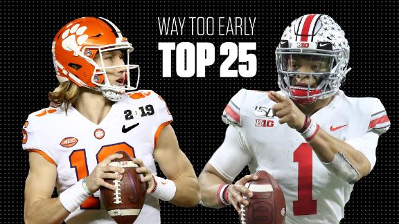 College football's Way-Too-Early Top 25