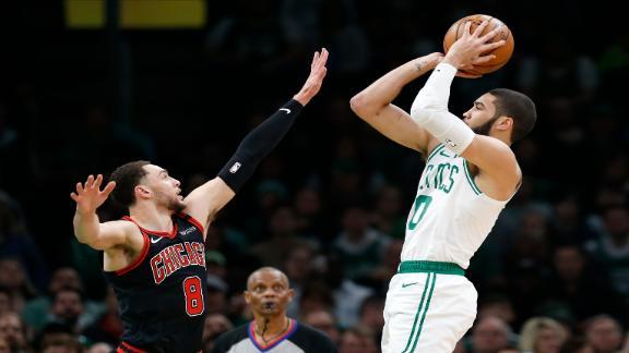 Tatum scores 21 points in win vs. Bulls
