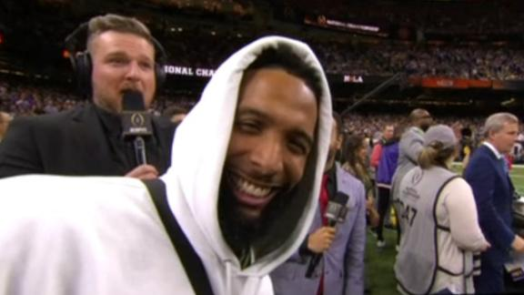 OBJ interrupts McAfee on LSU's sideline
