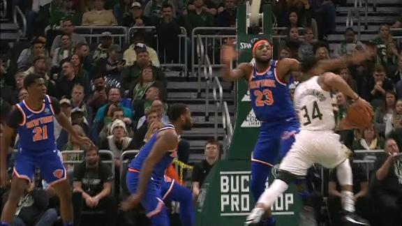 Giannis Eurosteps around entire Knicks defense