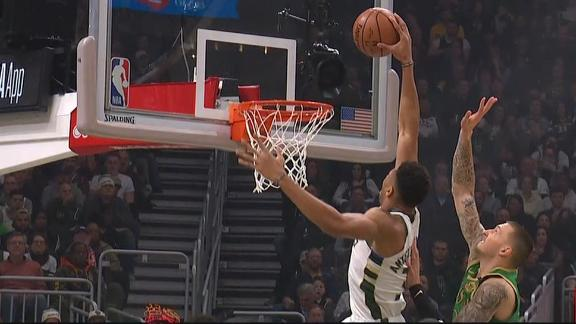 Giannis mean mugs after dunk in traffic