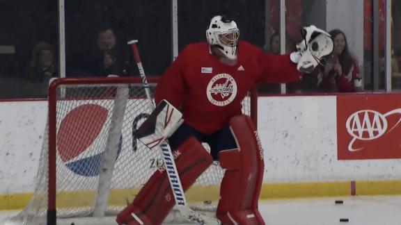 Zimmerman takes slap shots from Ovechkin, Caps in practice